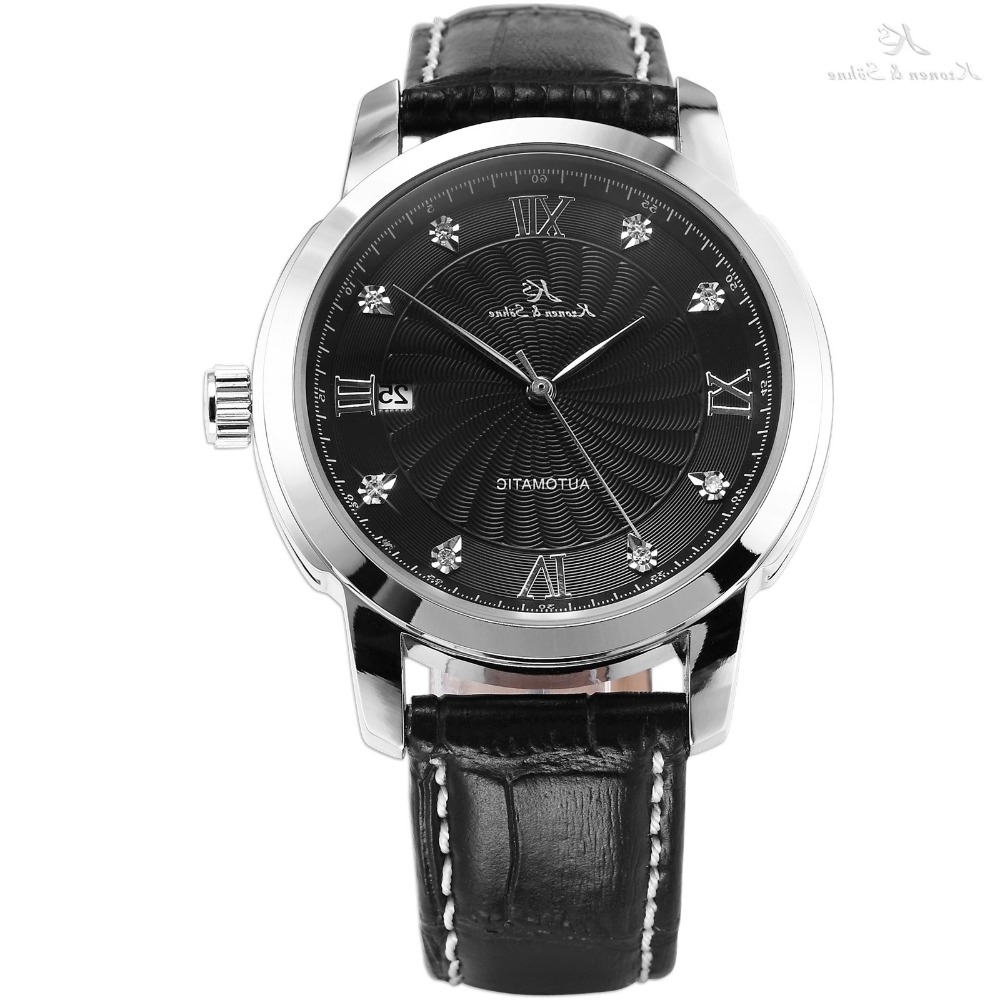 38.99$  Watch now - https://alitems.com/g/1e8d114494b01f4c715516525dc3e8/?i=5&ulp=https%3A%2F%2Fwww.aliexpress.com%2Fitem%2FGenuine-KS-Automatic-Mechanical-Date-Display-Black-Dial-Silver-Stainless-Steel-Case-Leather-Band-Analog-Men%2F32684096322.html - Genuine KS Automatic Mechanical Date Display Black Dial Silver Stainless Steel Case Leather Band Analog Men Wrist Watch / KS092