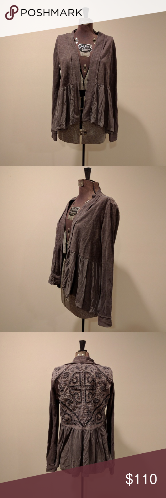Anthropologie Storystitch Cardigan in Taupe Grayish open cardigan with beautiful window embroidery on the back. New without tags, never washed or worn. Size xs. Saturday Sunday brand for Anthropologie. Anthropologie Sweaters Cardigans