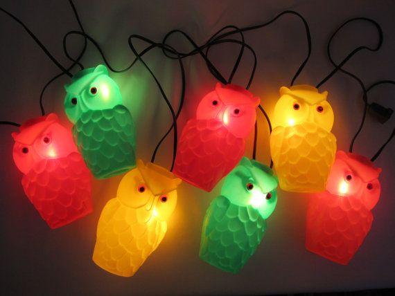 Marvelous Original Blow Mold Owl Patio String Lights, Vintage 1960s 1970s