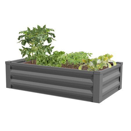 Greenes Fence Powder Coated Metal Raised Garden Bed Planter 24 Inch W X 48 L 10 H Gray
