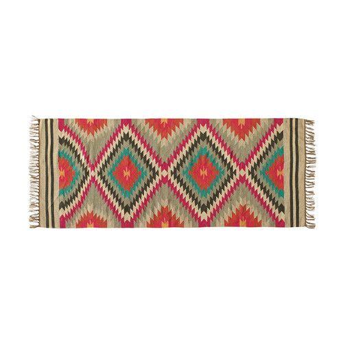 Flechtteppich ACAPULCO aus Wolle, 80 x 200 cm, bunt Teppich - teppich wohnzimmer bunt