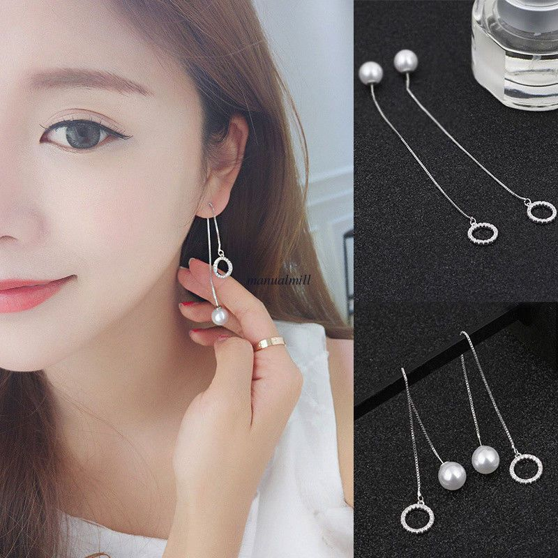 Fashion Cristal Argent Sterling 925 Cube Dangle Boucles d/'oreille Bar Party Jewelry