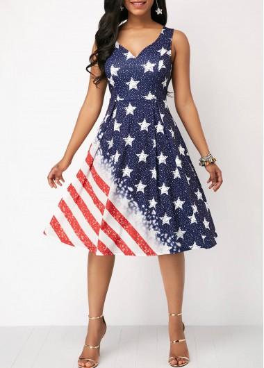 dd6e6f907312 Spaghetti Strap V Back Printed Dress | liligal.com - USD $34.42 ...