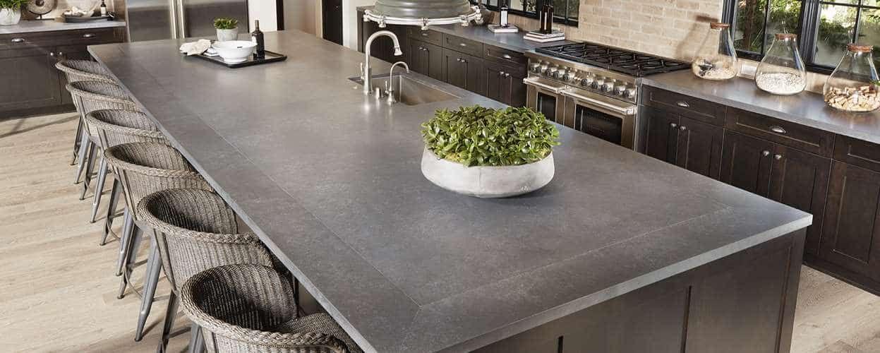 Metropolis Grey Quartz Slab Arizona Tile Lake House Kitchen