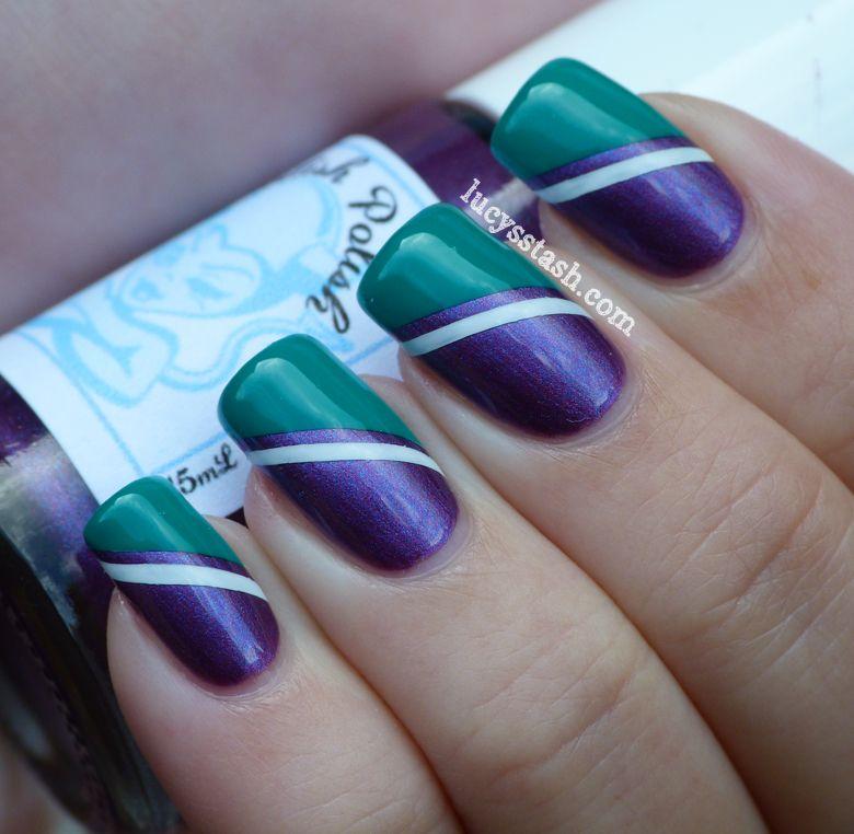 Wimbledon nail art tape manicure Summer Challenge Day 22