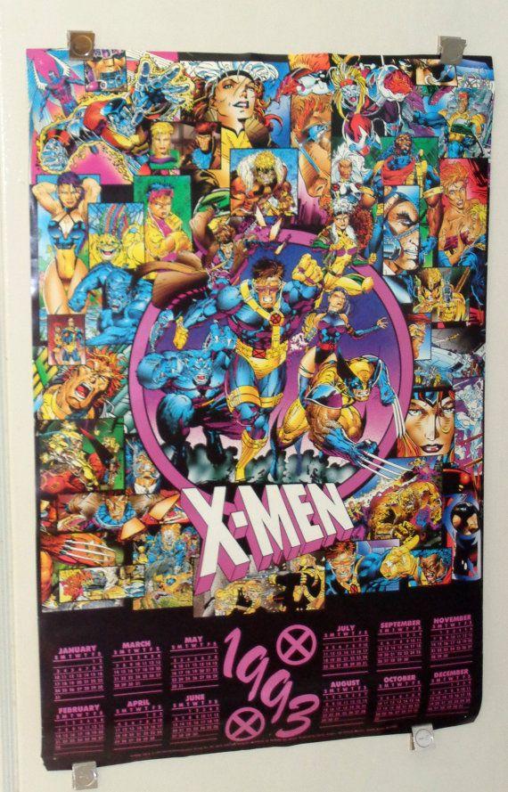 Original 1992 1993 X Men 36 By 24 Marvel Comics Calendar Poster 1