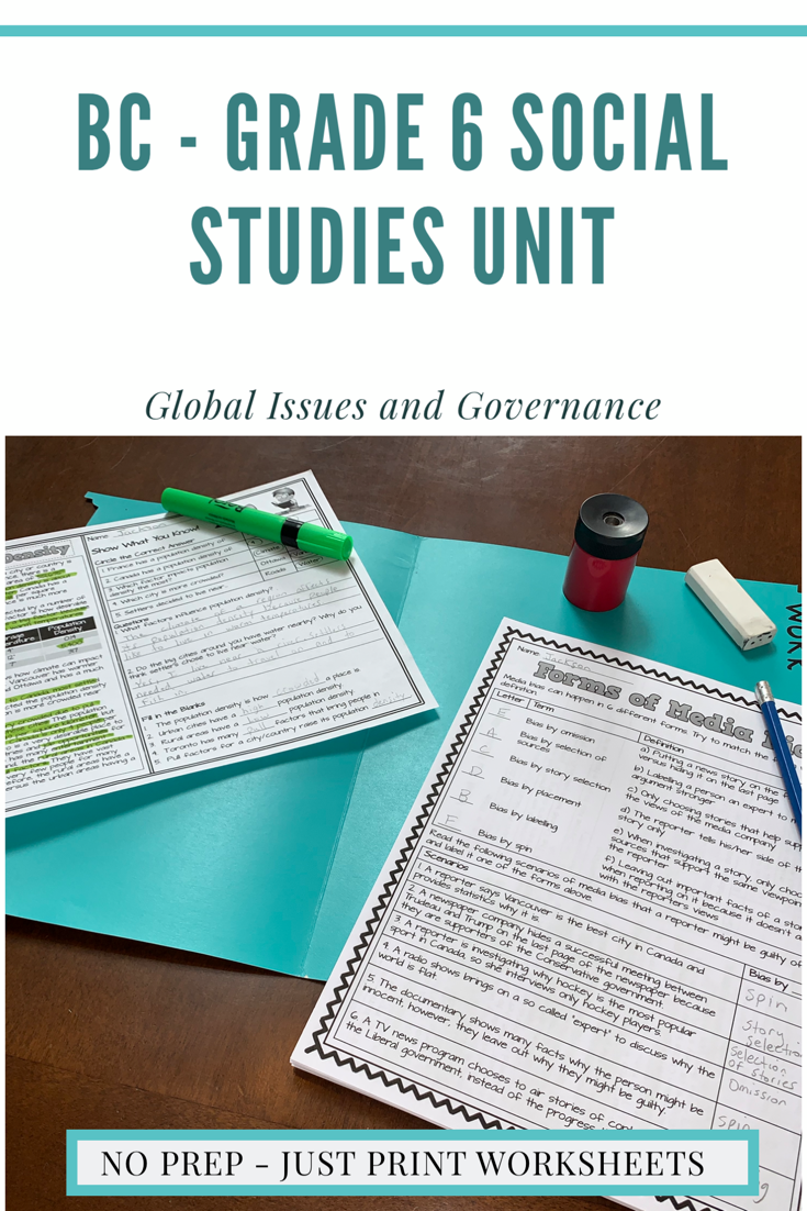 Global Issues and Governance - BC Grade 6 Reading \u0026 Activity Sheets Bundle    Social studies worksheets [ 1102 x 735 Pixel ]