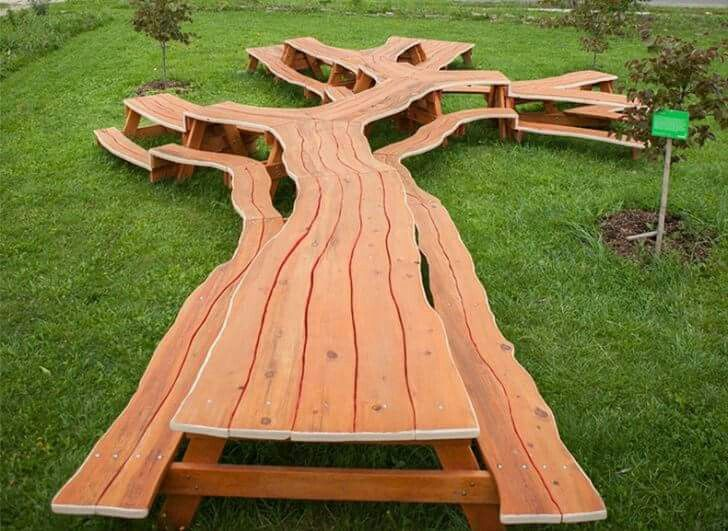 Picnic Table Carved From A Whole Tree
