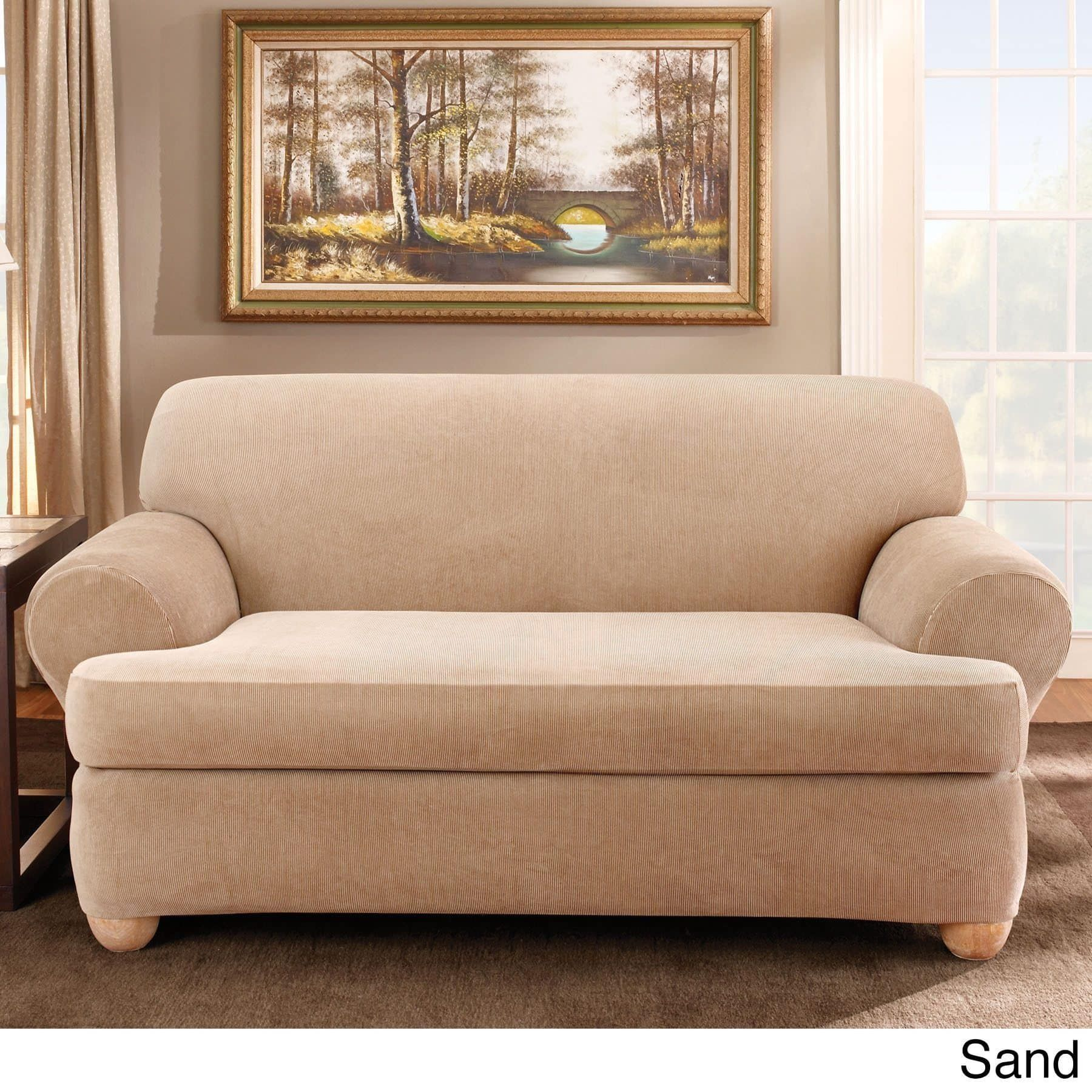 Sure Fit Stretch Stripe 2-piece T-cushion Sofa Slipcover (Brown - 2 ...
