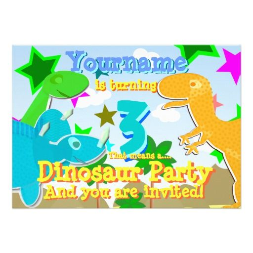 Turning 3 Dinosaurs Birthday Party Invites Adorable Star Birthday