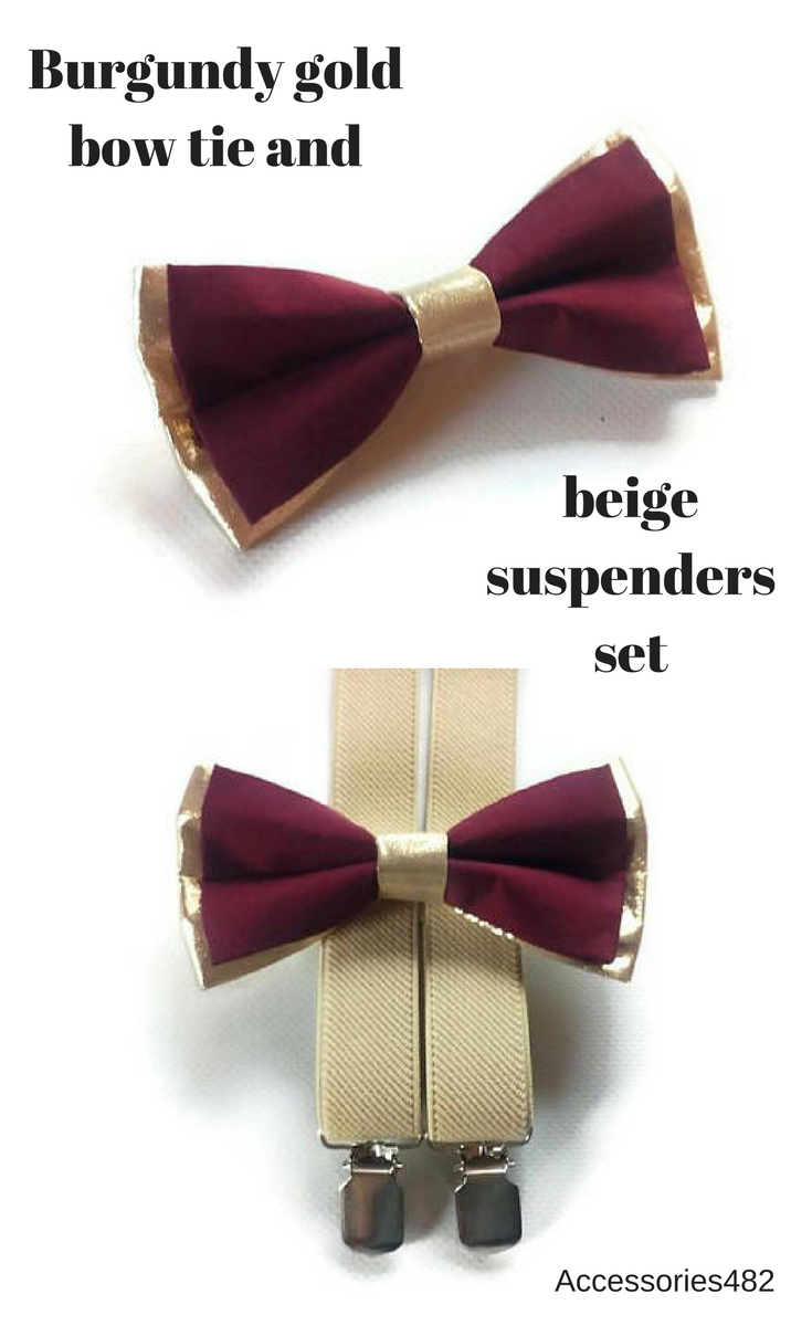 f92979c973e0 $19.95 Set of bow tie and suspenders Burgundy & gold bow tie with beige  elastic Y-back suspenders Ring bearer set of suspenders and bow tie  Groomsmen ...