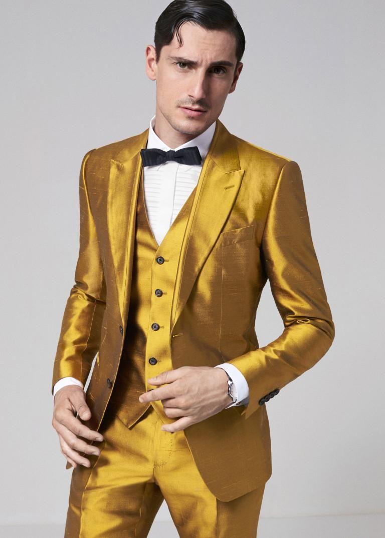 New Arrival Golden Yellow Men Suits Slim Fit Skinny Tuxedo Custom ...