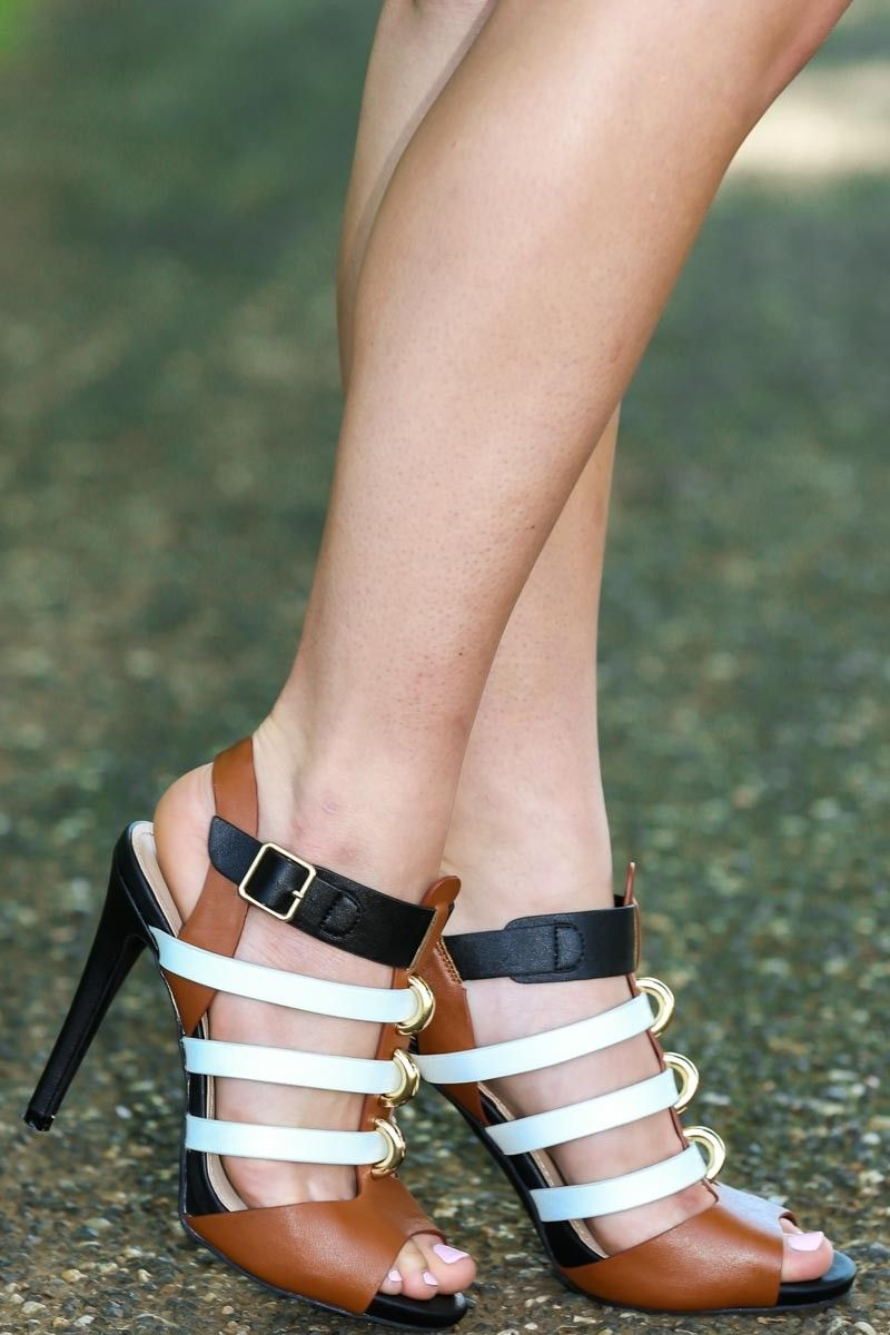 Take it to the street heels black white camel perfect for a