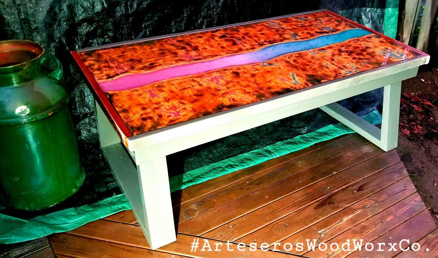 Custom lichtenberg epoxy river coffee table coffee table