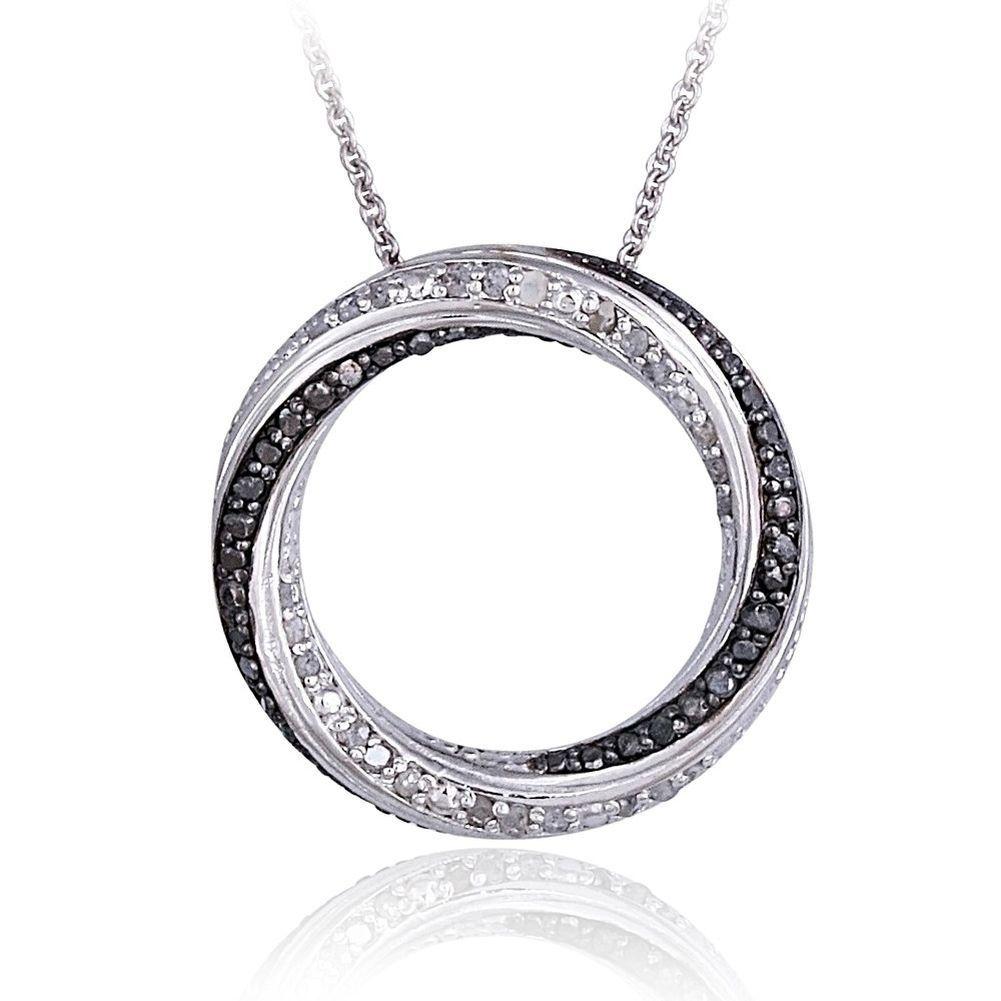 Black white real diamond eternity circle pendant necklace black white real diamond eternity circle pendant necklace aloadofball Choice Image