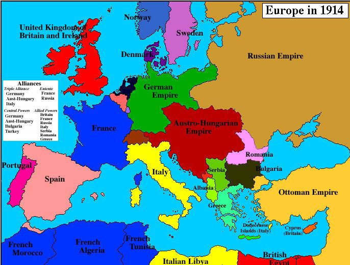 Map of Europe 1914 Geschichte Engl Pinterest