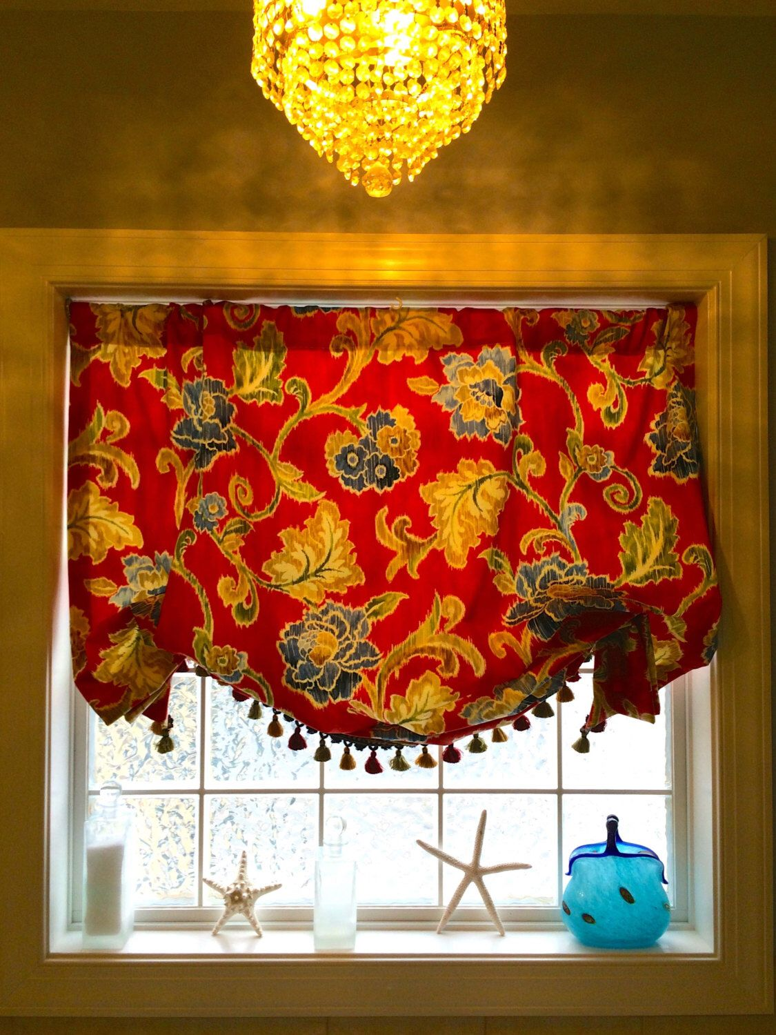 Red, Blue, Green and Gold Floral Soft Shade Valence ...