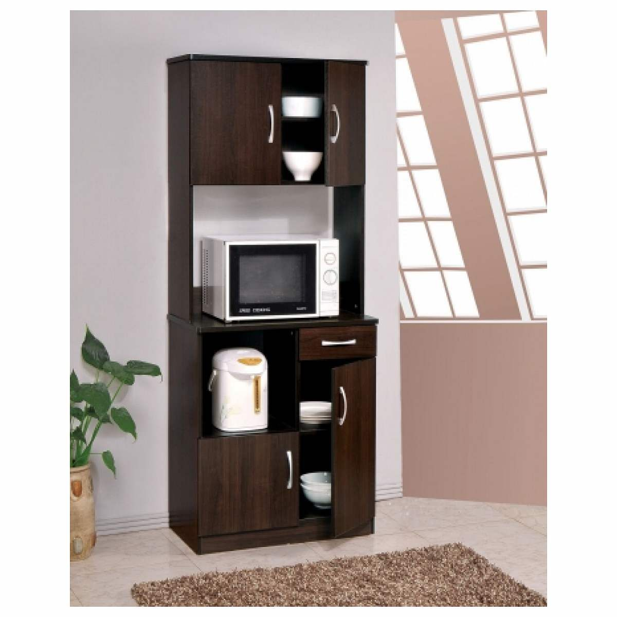 Acme Furniture Industry 12258 Quintus Kitchen Cabinet With Hutch In  Espresso   Join The Pricefalls Family