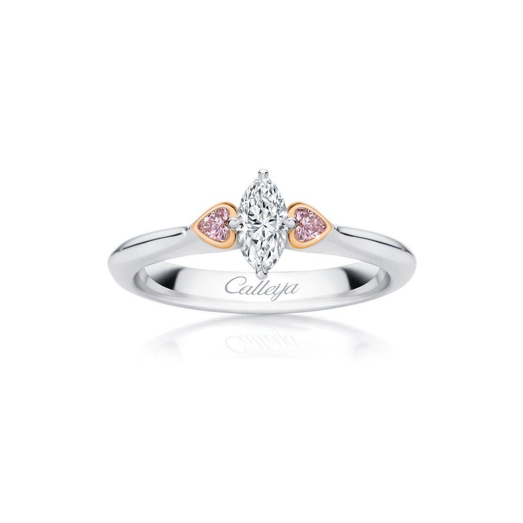 c145f9e311a99 White Diamond Ring with Argyle Pink Heart Shaped Diamonds | Calleija ...