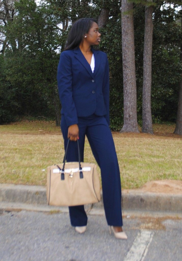 Business Suit Casual Outfit Work Professional Corporate Navy Women S Pant Pumps White Blouse Blue
