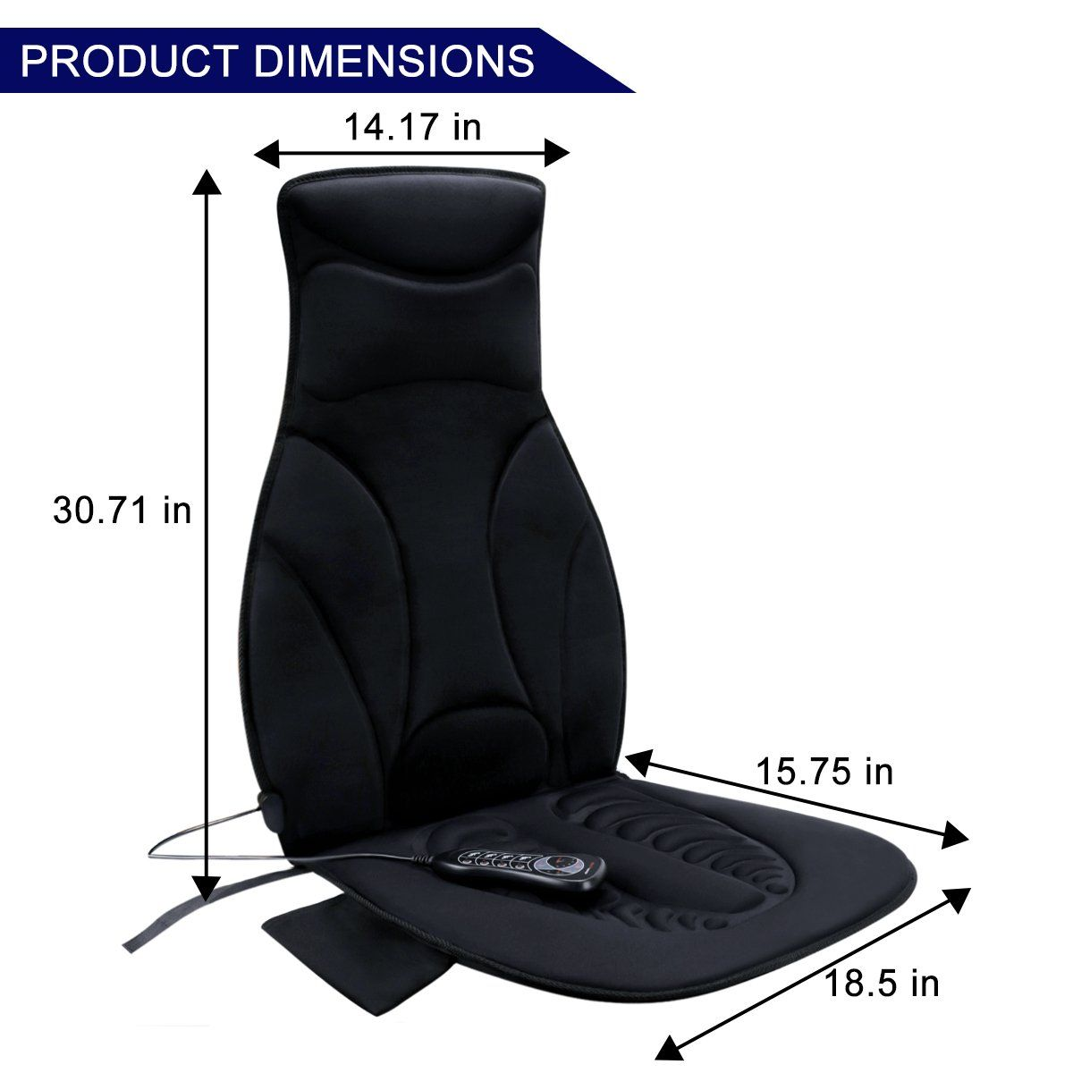 Relief Expert 10motor Vibrating Car Seat Back Massager Chair Pad