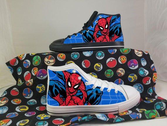 Spiderman Shoes, Peter Parker Converse Style Shoes, Superhero Gift Idea, Women's Men's High Top Sneakers #superherogifts