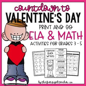 Countdown To Valentine S Day Ela Math Printables Valentine S Day