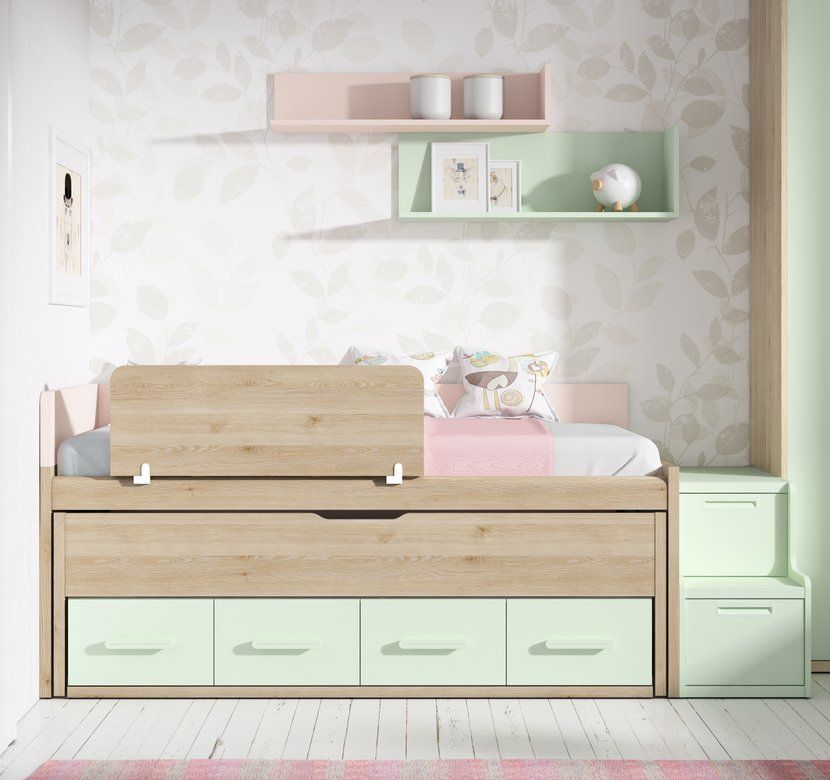 Camas compactas con cama desplazable compacto up 16 con - Escaleras para camas nido ...