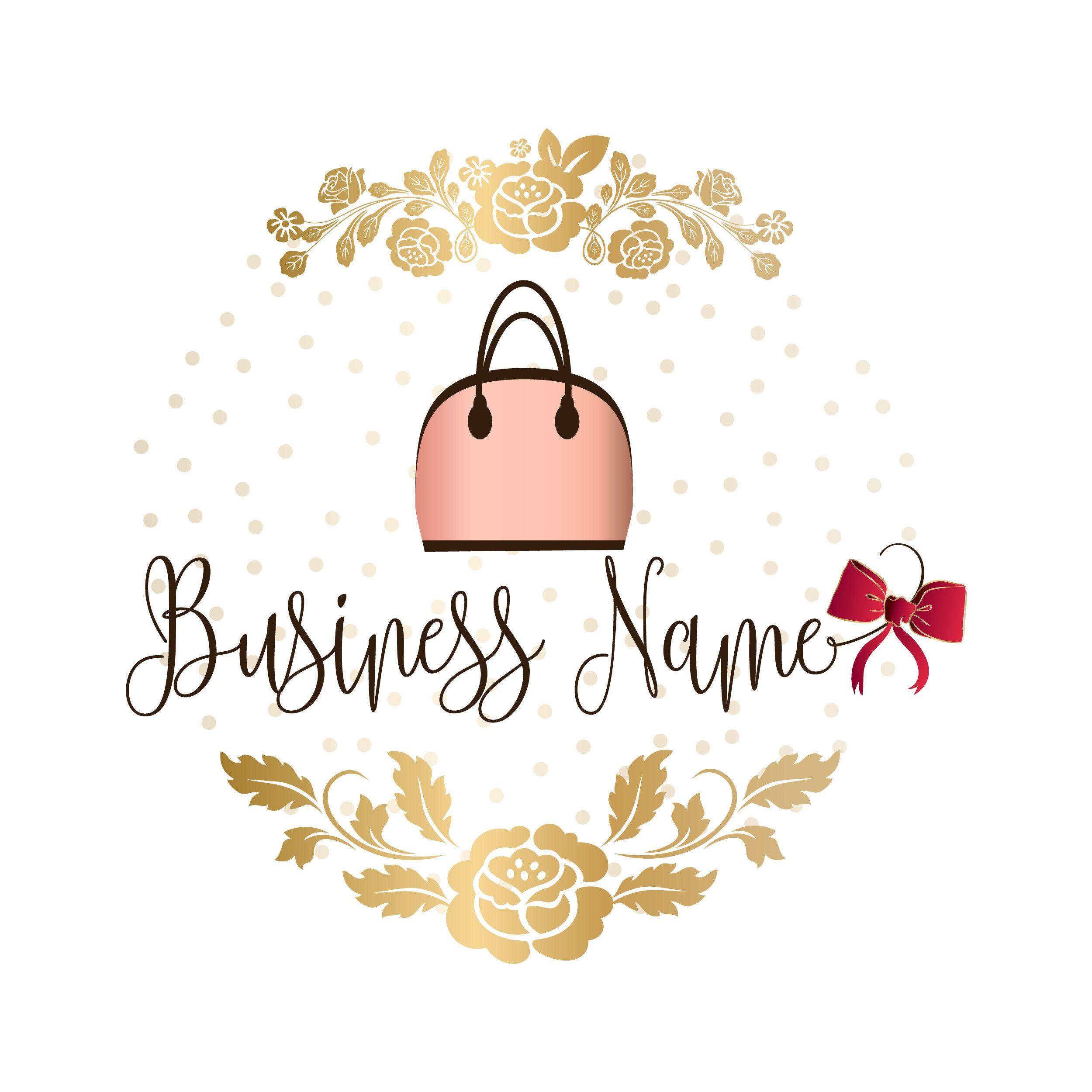Custom logo design, gold pink bag purse logo, gold fashion