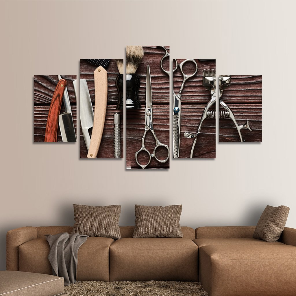 Lifestyle Barbershop Multi Panel Canvas Wall Art Barber Shop  # Muebles Lifestyle