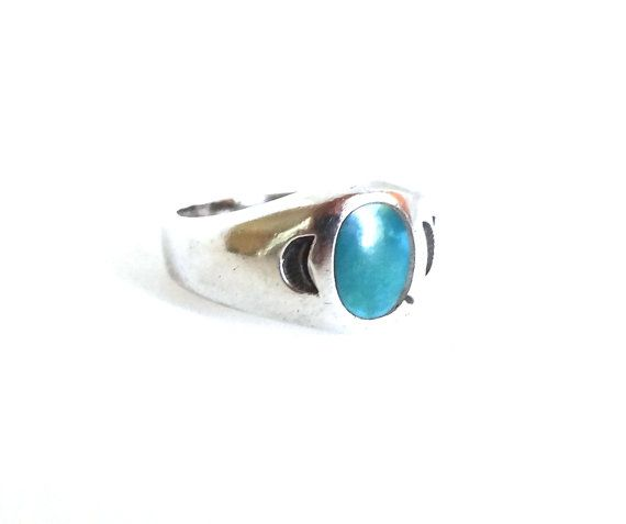 Vintage Turquoise Ring Sterling Silver Band Native American Indian Moons on Sides Size 4.5 Small Pinky Ring Mens Mans Unisex