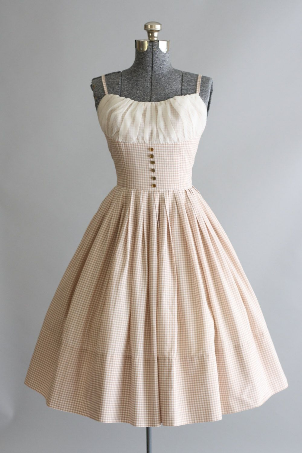 Vintage 14s Dress / 14s Cotton Dress / Tan and White Gingham Sun