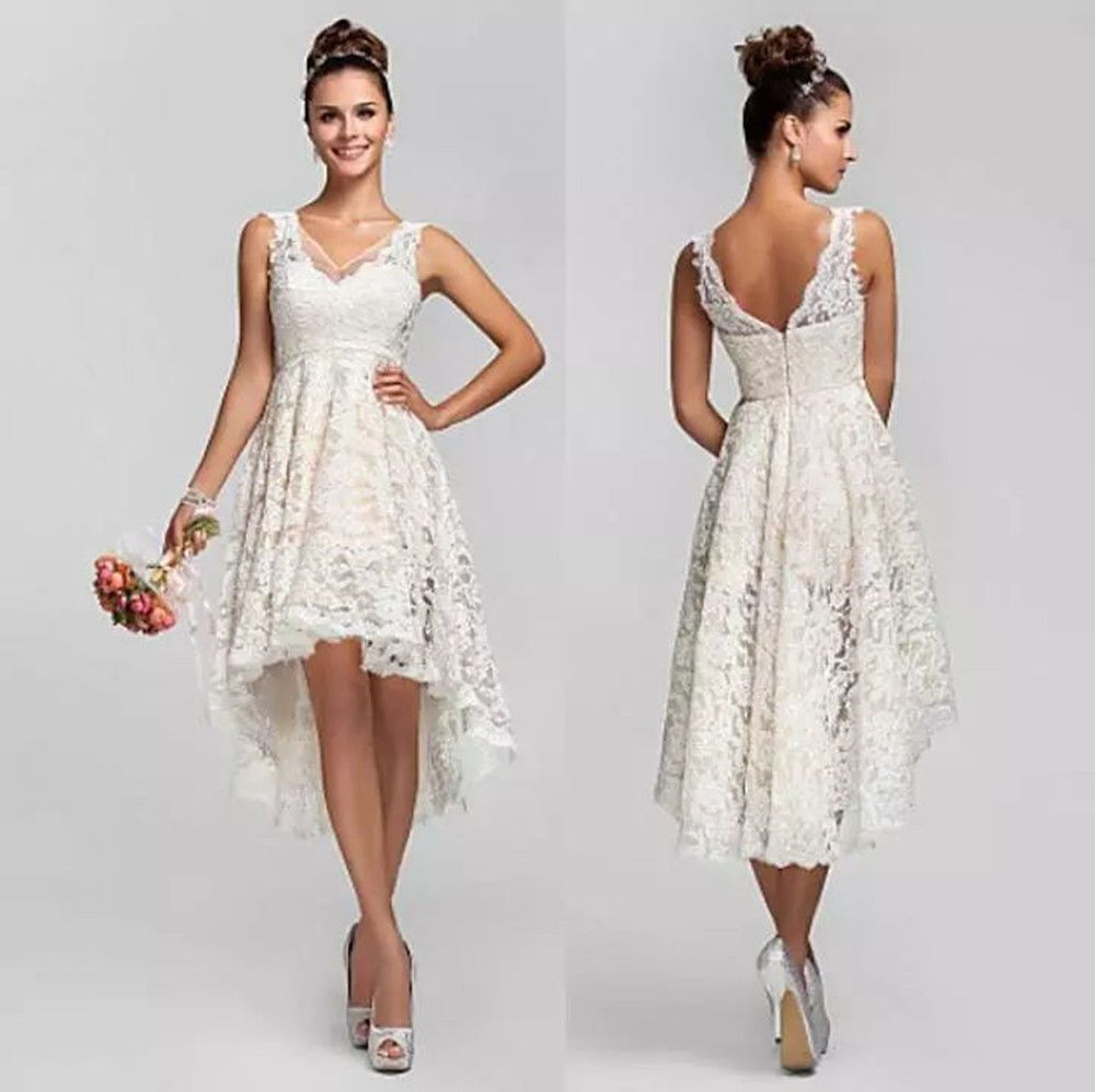 New short lace v neck wedding dress backless high low beach bridal