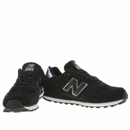 black & silver 373 suede & mesh, part of the womens new balance trainers  range available at schuh