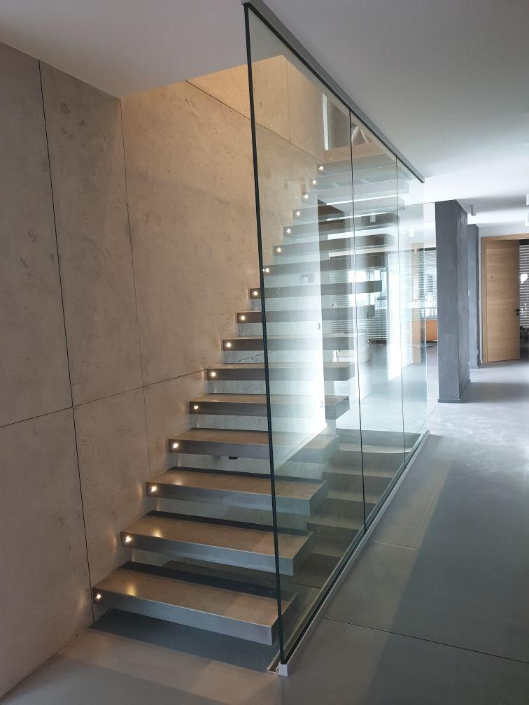 Escalier Moderne Autoportant Metallique Marches Avec Eclairage