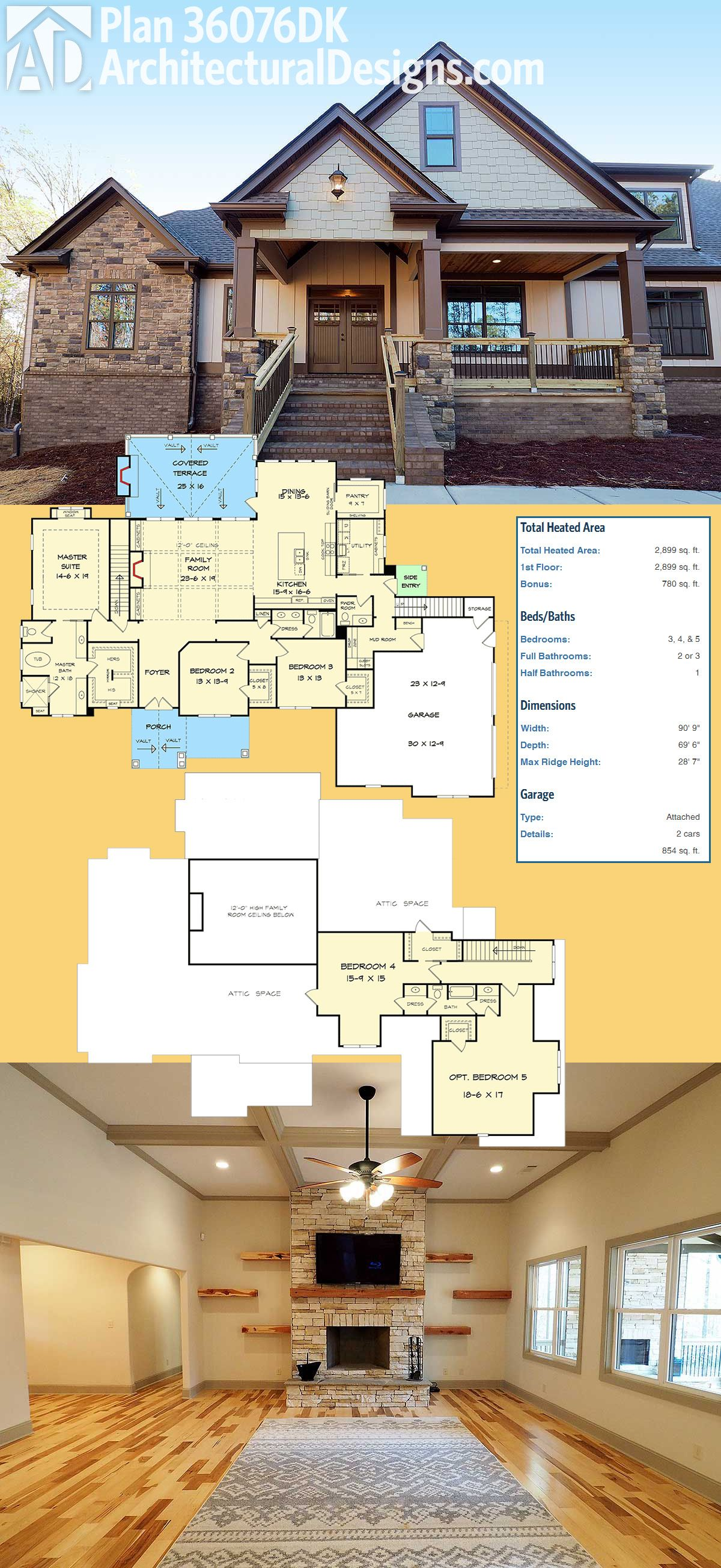 Introducing architectural designs house plan dk it gives you beds on the main floor and an open there is expansion space upstairs also striking craftsman with option for cabins rh pinterest