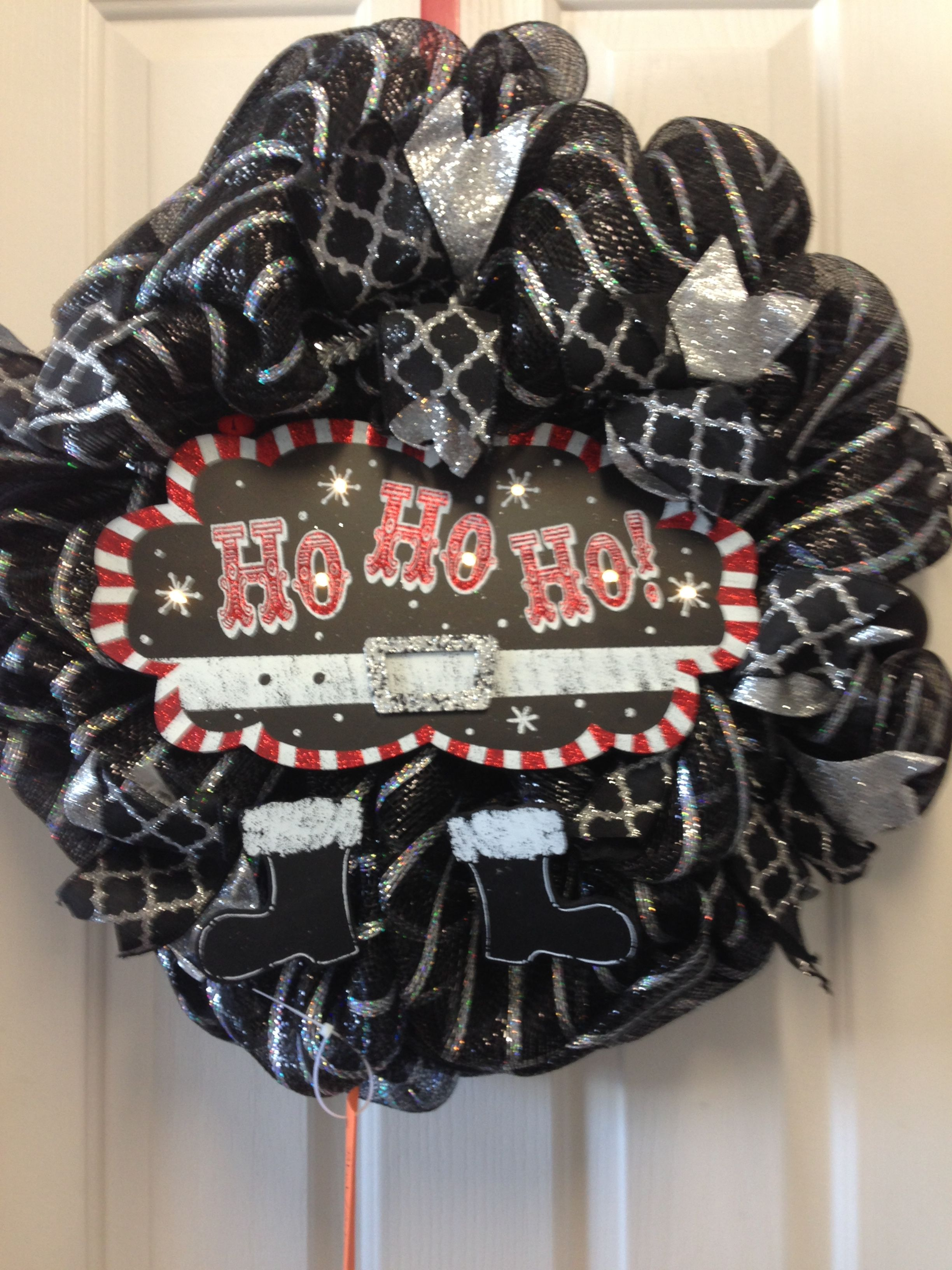 Light up ho ho ho sign black silver mesh wreath now available on https://m.facebook.com/INTOCHRISTMAS/