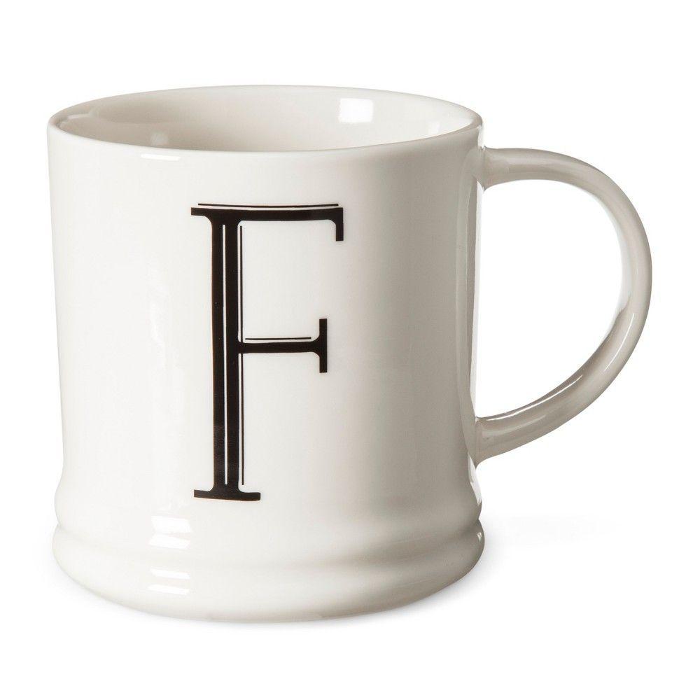 Monogrammed Porcelain Mug Oz White With Black Letter F
