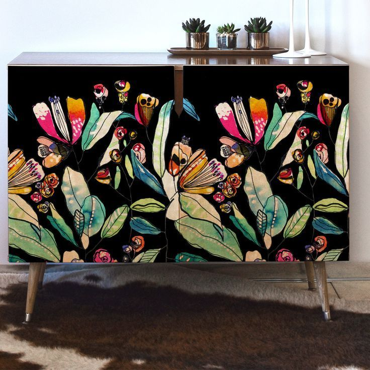 CayenaBlanca Spring Wildflowers Accent Cabinet