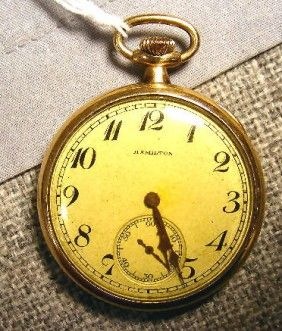 Hamilton pocket watch, monogramed case, engraved presentation from Hale Co. dated 1923