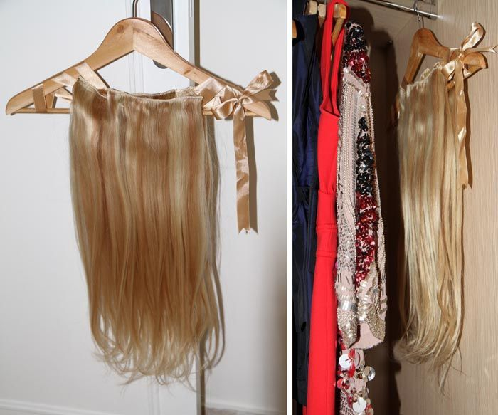 Good Iea For Storing Extensions. Silk/satin Ribbon Tied Around A Hanger And  Stored In Closet