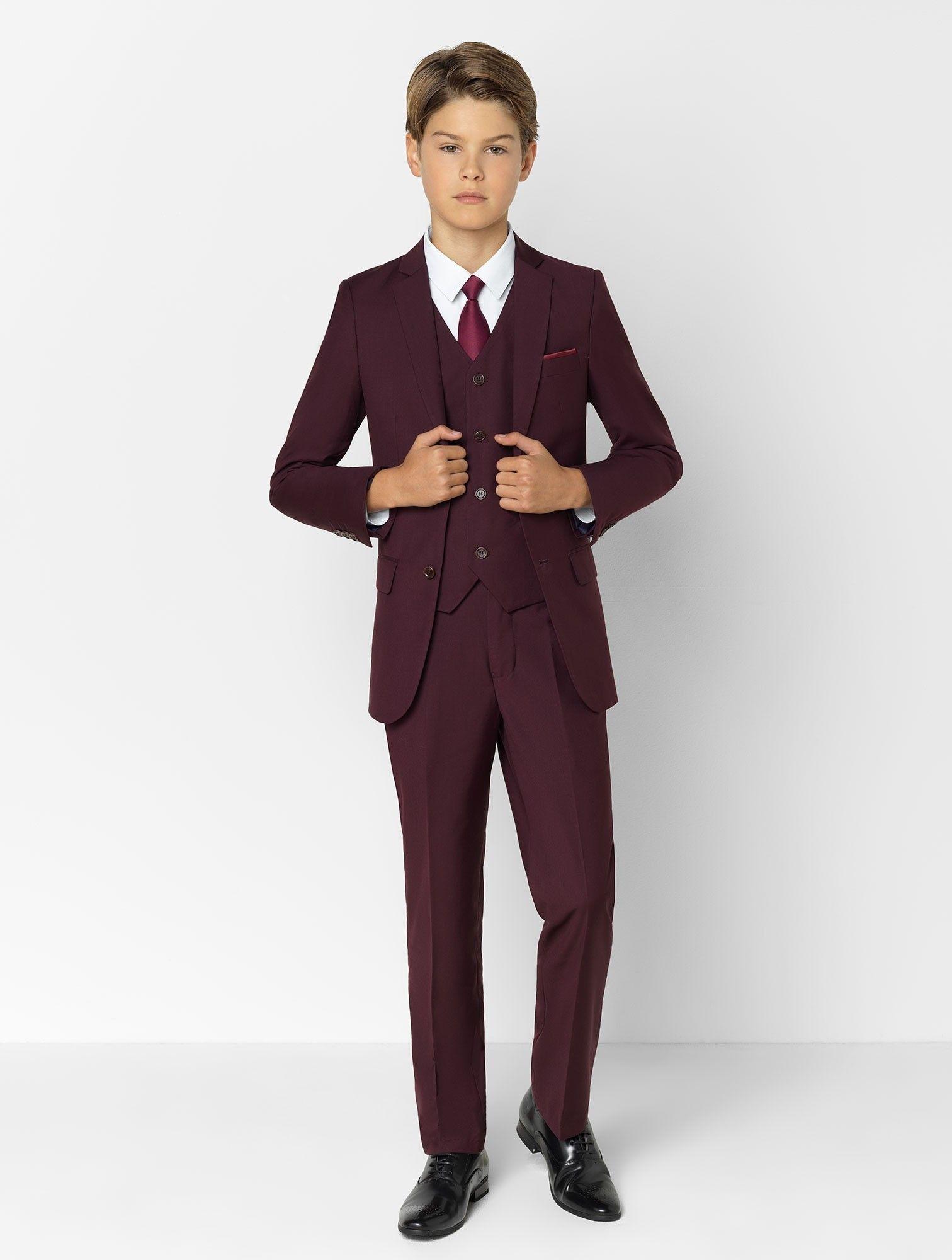 Boys burgundy suit Soho Boys wedding suits, Boys