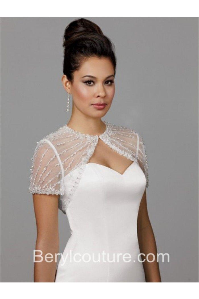 dce1f8cacb71 Gorgeous Tulle Crystal Beaded Wedding Bridal Bolero Jacket Short Sleeves