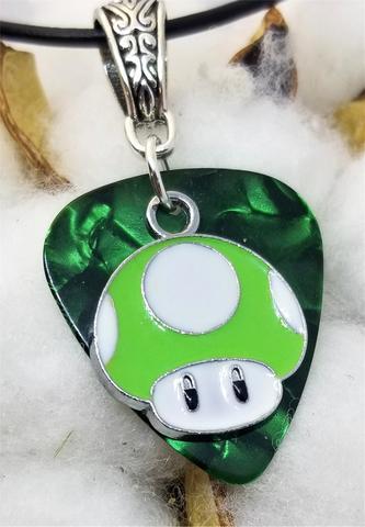 Super Mario Bros Green Mushroom on Green MOP Guitar Pick