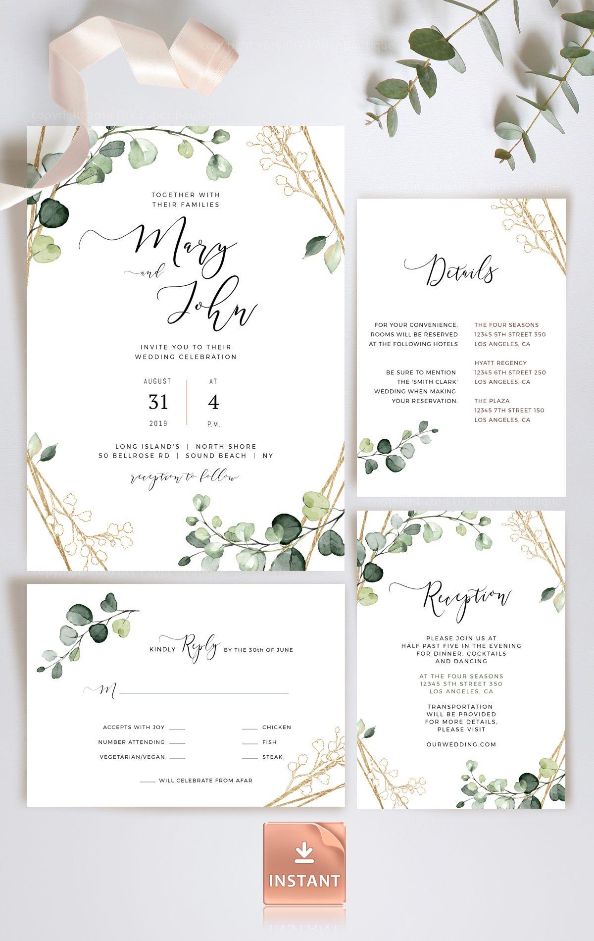 Faux Gold Foliage Wedding Invitation Template Printable Etsy Bohemian Wedding Invitations Wedding Invitation Templates Wedding Invitations