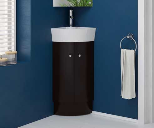 Rivera Black 310 Cloakroom Freestanding Corner Vanity Unit With Sink    V50121036BW Scene Square Medium