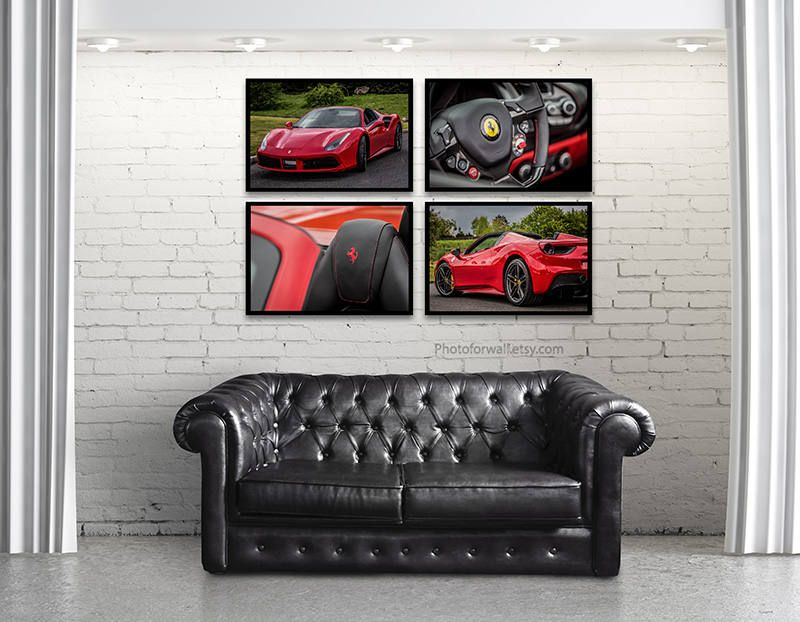 Garage Wall Art set of 4 ferrari 488 spider car photography/garage decor/large