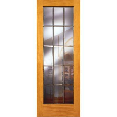 Feather River Doors 32 In X 80 In 15 Lite Unfinished Pine Clear Bevel Brass Woodgrain Interior Door Slab Em15012868b375 The Home Depot Doors Interior Knotty Pine Doors Slab Door
