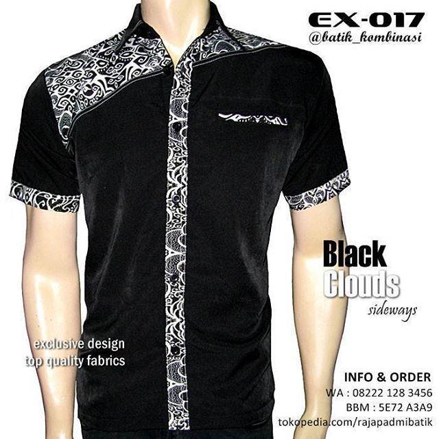 Desain Batik Kombinasi Polos Pria: BATIK KOMBINASI PRIA Warna HITAM PUTIH, Kemeja Batik