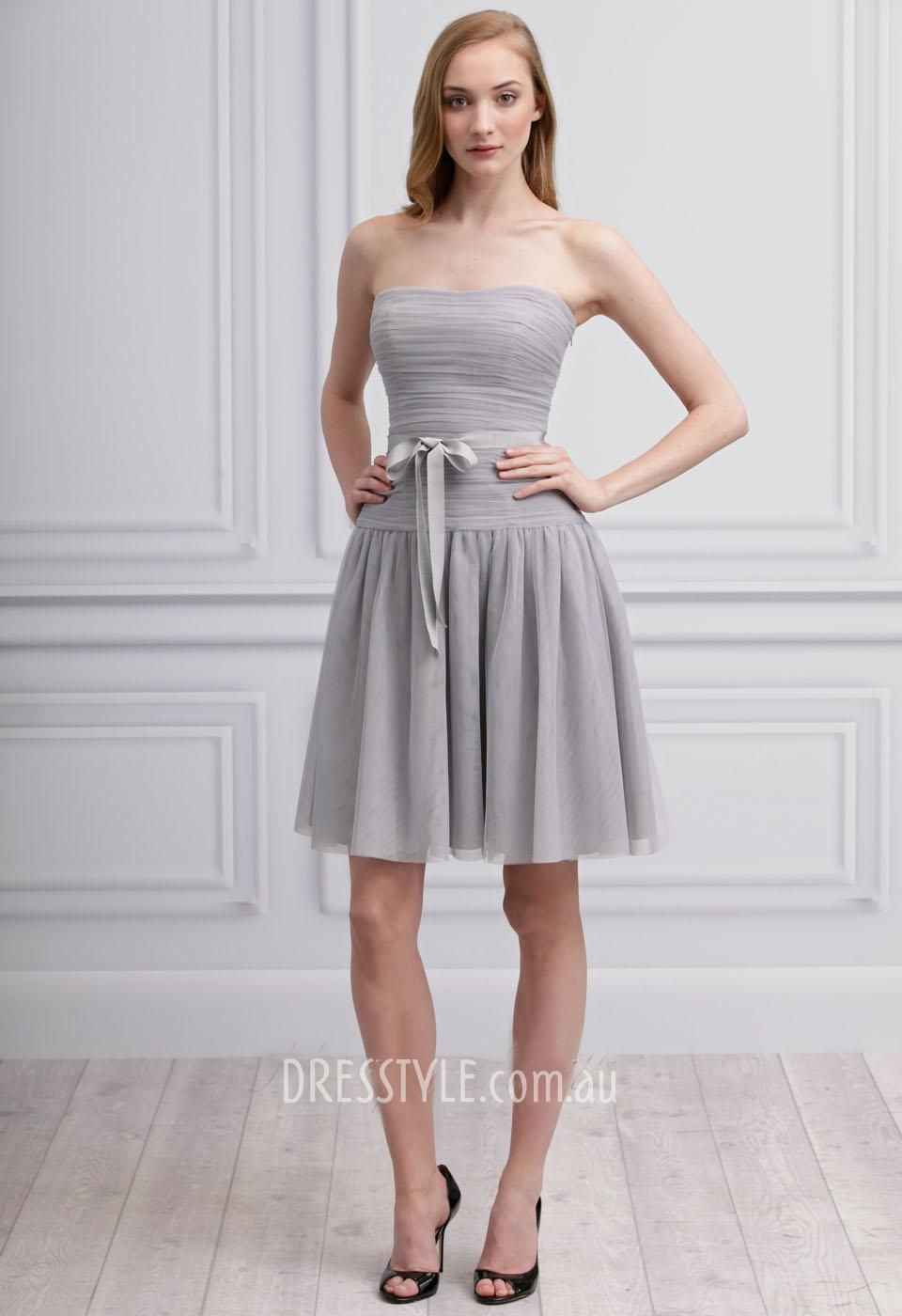 Light grey strapless short a line drop waist full skirt prom light grey strapless short a line drop waist full skirt prom cocktail dress ombrellifo Choice Image